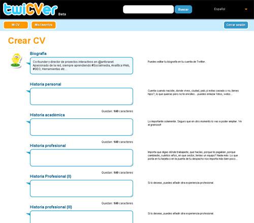 Twicver te permite hacer tu CV en tan solo 10 tweets (6/6)